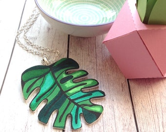 Monstera Necklace, Tropical Leaf Necklace, Plant Lover Gift, Birthday Gift for Her, Summer Wedding, Anniversary, Teacher Thank You, Nature.