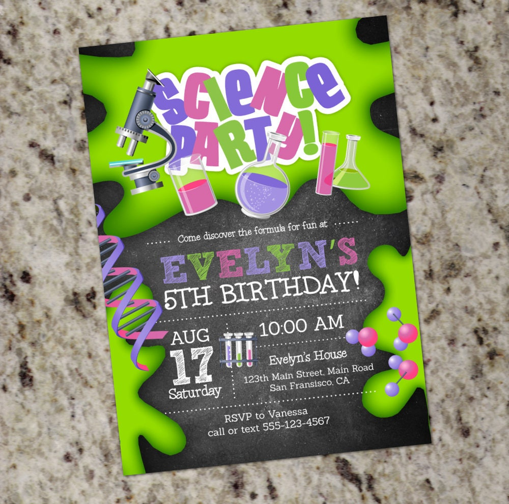 Girl Science Birthday Party Invitations Mad Scientist