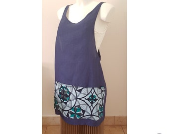 Japanese style blue linen back crossed apron with big West African printed cotton pockets.