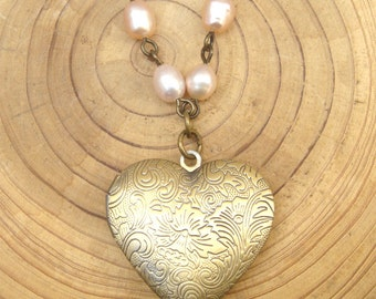 Antique Brass Pearl Locket Necklace Victorian Jewelry Gift Vintage Style