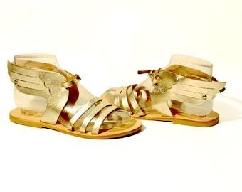 Leather Sandals: Hermes Winged Greek Sandals - Gold Sandals. Ancient Greek Sandals - Mythology inspired Sandals. Handmade in Greece.