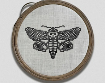 Death Head Moth: A Hoop Art Embroidery Chart - PDF Pattern Booklet, direct download