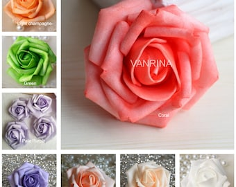 15 colors 100pcs fake rose heads foam flowers for wedding roses flower heads artificial flowers wholesale flowers 100 heads for kissing balls cake topper wedding decoration mightylinksfo