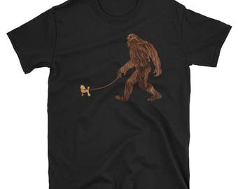 Sasquatch Shirts, Bigfoot Shirts, Yowie Shirts, Yeti Shirts, Funny Bigfoot, Bigfoot Walking Poodle, Poodle With Bigfoot, Squatch Dog