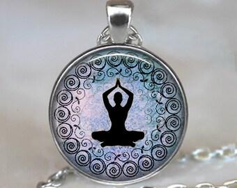 Lavender Blue Yoga necklace, yoga pendant yoga jewelry meditation jewelry yoga student gift, yoga teacher gift key chain key ring key fob