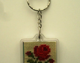 Keychain square hand embroidered Red Rose