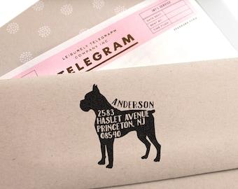 Custom Address Stamp - Boxer Dog Return Address Stamp, Holiday Gift, Dog Address Stamp, Wedding Gift, Rubber Stamp, Save The Date Stamp Gift