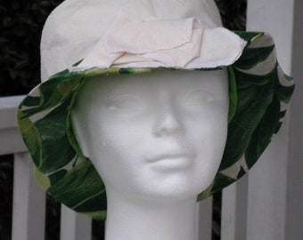 Summer Sun Hat women cotton white and green lineva