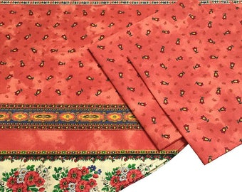 """French Tablecloth, Small Round Tableclot,48"""" Bistro Tablecloth, Salmon Tablecloth"""
