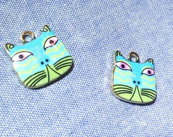 2 pieces Quirky GREEN CAT enamel character charms Create Colorful Kitty Jewelry. Cute craft Supplies for all of my fellow cat lovers.