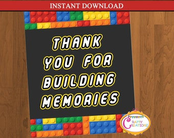 INSTANT DOWNLOAD - Thank you for Building Memories Party Sign - Building Blocks Sign - Blocks Party Sign - Blocks Sign - PRINTABLE