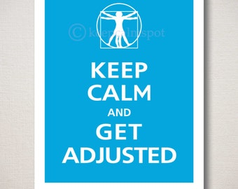 Keep Calm and GET ADJUSTED Chiropractor Vitruvian Man Typography Art Print Wall Sign