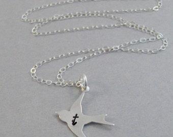 Be Yourself,Bird,Bird Necklace,Sterling Bird,Bird Jewelry,Sparrow Jewelry,Minimalist,Initials,Personalized,Sterling Silver Necklace,
