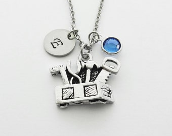 Toolbox Necklace, Gift For Repairman, Handyman, Carpenter, Dad, Swarovski Birthstone, Silver Initial, Personalized Monogram, Hand Stamped
