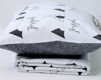 Toddler Bedding - Teepee Blanket - Personalized Pillowcase - Teepee Bedding Set - Toddler Pillow - Monochrome Kids Bedding - Toddler Gifts