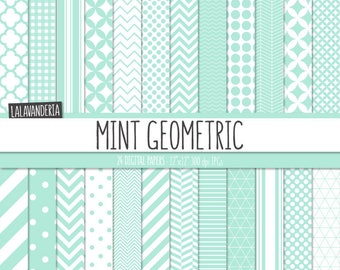 Geometric Digital Paper Package with Mint Backgrounds. Printable Papers Set - Green Geometric Patterns. Digital Scrapbook. Instant Download