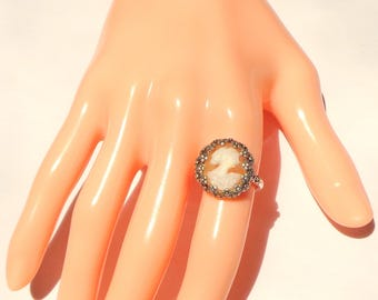 Vintage Cameo, New Sterling Silver Ring, Size Adjustable, Hand Carved Cameo, Italian Cameo, Carved Conch Shell Cameo, OOAK