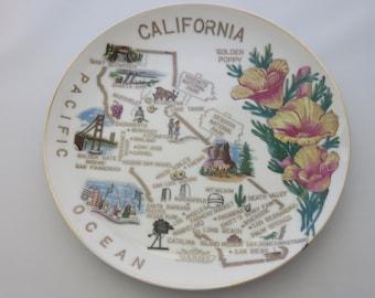 Vintage California Map Souvenir Plate Ceramic Gold Trim Golden Poppy Collectible
