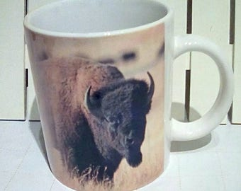 Vintage 1994 National Wildlife Federation American Bison Photo Mug