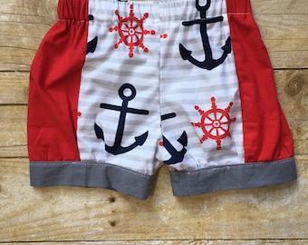 Size 12 Months Girls Bubble Shorts - Girls Cuffed Shorts - Girls Summer Clothes - Little Girls Shorts - Infant Shorts - Nautical Shorts