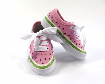 Watermelon Shoes, Hot Pink Sneakers, Watermelon Theme Outfit, Hand Painted for Baby and Toddlers, Birthday Party Shoes