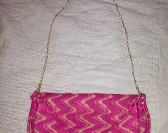 Pink Clutch with chain handle