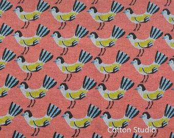 On Sale Hokkoh Tweet Tweet Kawaii Bird Japanese Fabric Peach Lightweight Canvas 1/2 Yard