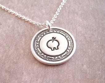 Mini Pig Necklace, Piglet Necklace, Fine Silver, Sterling Silver Chain, Ready To Ship