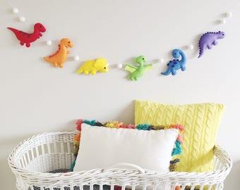 Plush Dinosaurs Felt Nursery Garland, Felt Animals, Dinosaur Party, Baby Shower, New Baby, Read Item Details 2-3 Week Turnaround Time