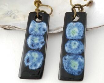 Enamel Ceramic Earrings - Geometric Earrings - Gift for Women - Screw On Earrings - Mother's Day Gift - Modernist Earrings - Birthday Gift