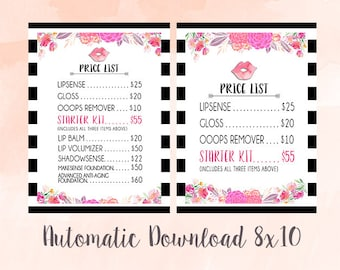 LipSense Price List - Watercolor Floral With Mod Stripes