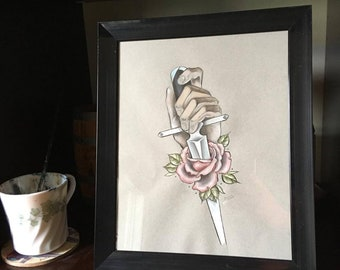 Stabbed Rose, Original Wall Art