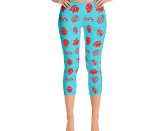 Capri,Leggings,Ladybug,Womens,Yoga,Workout,Tights,Pants,Stretch,Spandex,Print,Pattern,Stretchy,Clothing,Fashion,Unique,Printed,Design,Gym