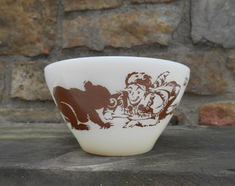 """Davy Crockett Child's Cereal Bowl Brown Retro Graphics Bear and Bee Oven Ware Fire King Glassware 4 3/4"""""""