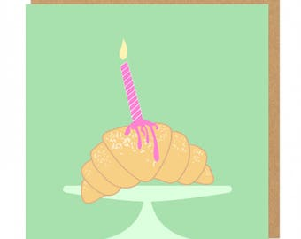 Croissant and candle Birthday Greeting Card