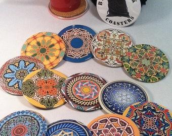4 Boho Drink Coasters, Cork Backed Coasters, Beverage Coaster Set, Boho Gift, Boho Party Favors, Labor Day Sale