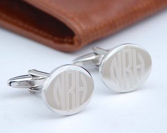 Contemporary Monogram Cufflinks, Oval Cufflinks, Round Cufflinks, Square Cufflinks, Rectangle Cufflinks,Gift for Groomsmen,Father's Day Gift