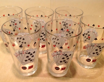 6 poker beverage glasses with playing cards and poker chips