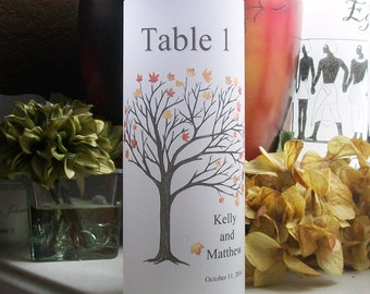 Vellum Candle Luminarie Table Numbers - Waving Fall Tree - Personalized - Autumn - Lantern - Luminaria
