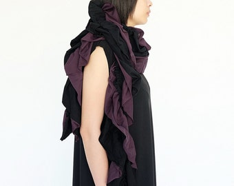 NO.159    Black and Purple Cotton-Blend Jersey Two Tone Ruffle Scarf