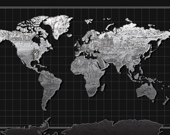world map, drawing, collage, black & white, digital file