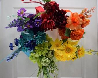 Rainbow Wreath-  Front Door Wreath- Floral Wreath