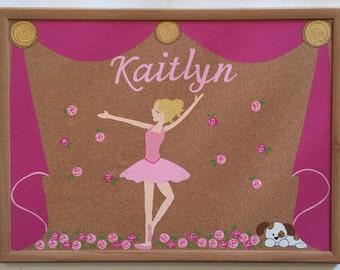 Ballerina; Handpainted Personalized Corkboard; Bulletin Board; Dancer