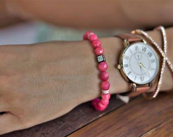 pink beaded bracelet, beaded bracelet in pink, silver bracelet in pink, silver beaded bracelet