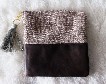 Handwoven Clutch with Genuine Dark Brown Leather