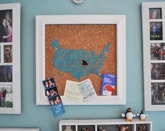 Push Pin Cork Travel Map of the United States