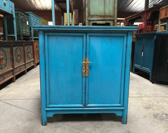 FREE SHIPPING WITHIN U.S.-Antique Chinese Storage Cabinet in Lacquered Blue (Los Angeles)