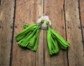 Gypsy Earrings Green | Long Fringe Earrings | Girlfriend Gift Idea | Boho Earrings Tassel Earrings Gifts under 30 Cyber Monday Free Shipping