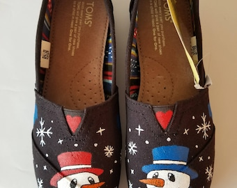 Let It Snow Hand Painted TOMS