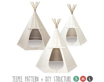 Teepee, Sewing Pattern of the tent and Structure Tutorial, DIY. 3 sizes = Small, Medium & Large. How to Make a Real Indian Tepee, Ebook